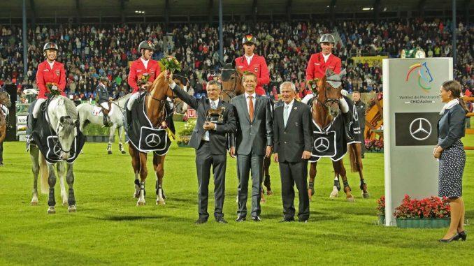 De Duitse equipe won voor het eerst sinds acht jaar de landenwedstrijd op het CHIO Aken.