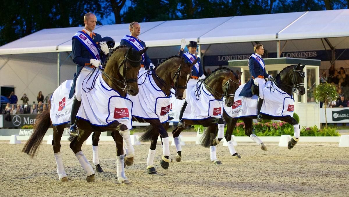 Nederlandse dressuurploeg wint landenwedstrijd CHIO Rotterdam