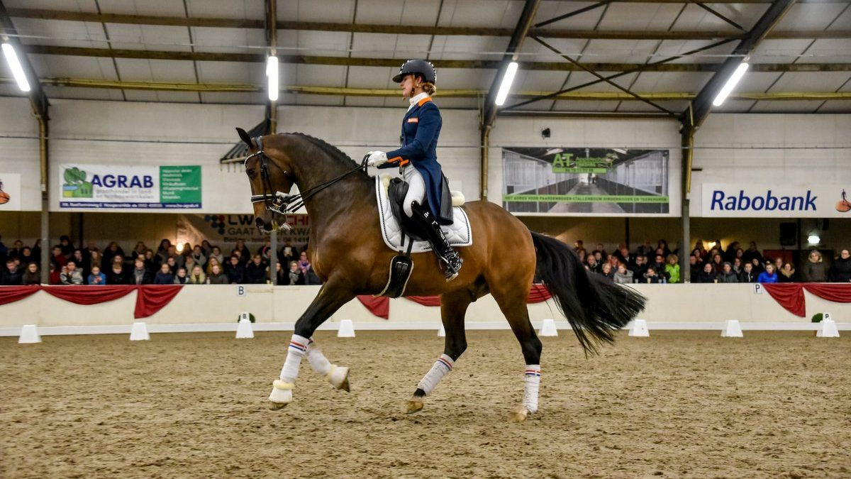 Adelinde Cornelissen en Zephyr tijdens hun clinic bij de Stroomruiters in Beilen. foto: Henk Lomulder