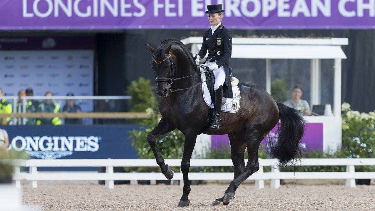 Helen Langehanenberg behaalde dinsdag met Damsey FRH de hoogste score. foto: Claes Jakobsson/FEI