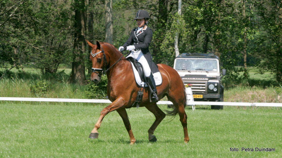 Mellanie Welles won met Horses2fly Zander de zware tour bij het CH Oosterwolde.