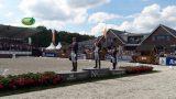 Het podium van het NK-dressuur 2016, met op de hoogste trede Diederik van Silfhout.