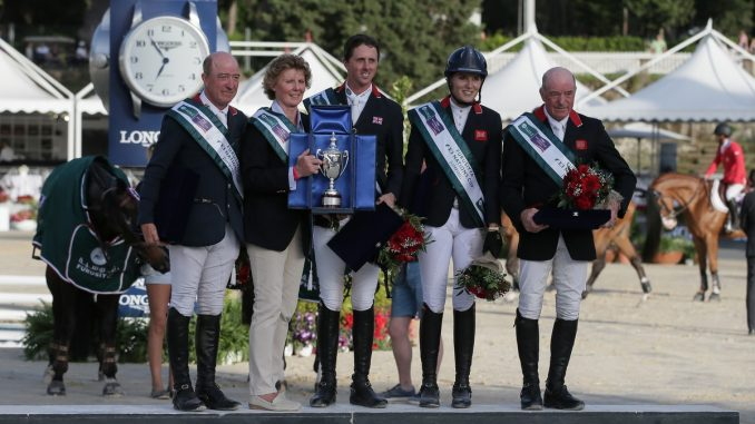 Het winnende team uit Groot-Brittanië in de landenwedstrijd Rome.