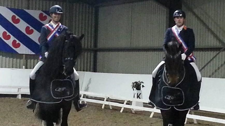De Friese kampioenen Hergen van Hall en Benjamin Bakker. ©KNHS Friesland