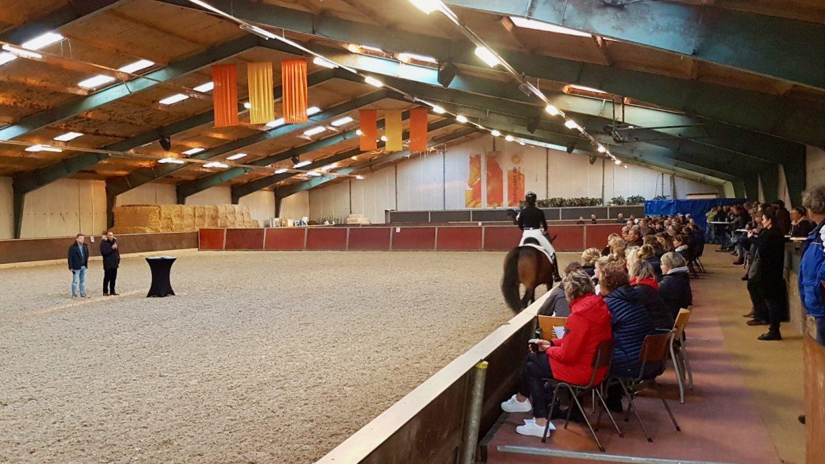 Cursisten luisteren naar de aanwijzingen bij het beoordelen van jonge paarden onder het zadel.