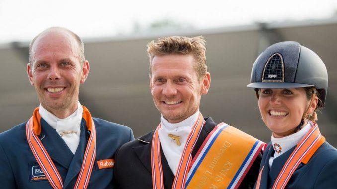 De top drie in de lichte tour: Edward Gal (midden), Hans Peter Minderhoud en Emmelie Scholtens. foto: Glock | Arnd Bronkhorst
