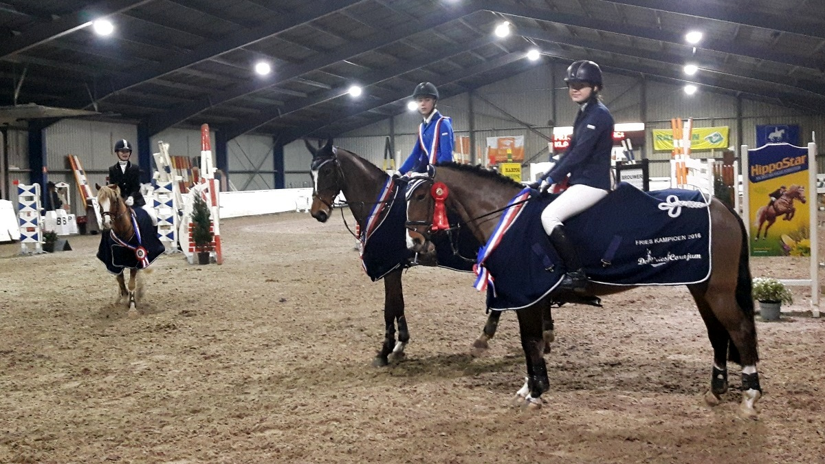 De winnaars in Friesland bij de pony's klasse M, Z en ZZ, met in het midden drievoudig kampioen Gerrit Veenstra.